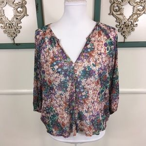 Weston Sheer Floral Batwing Blouse Womens Size XS